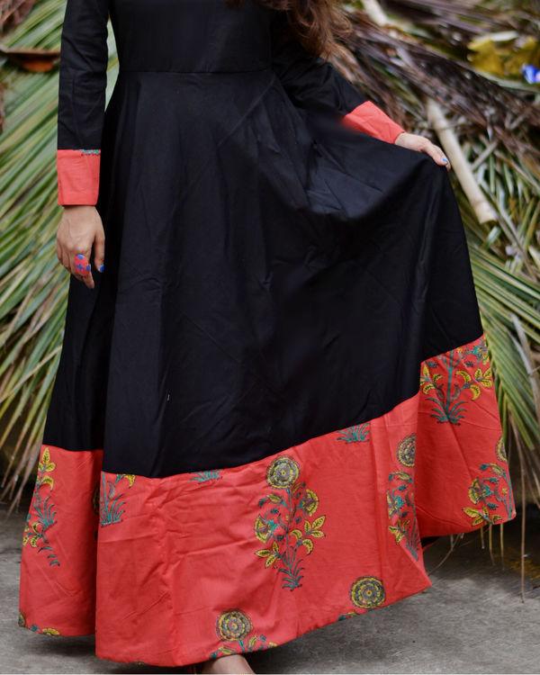 Black printed border dress 1