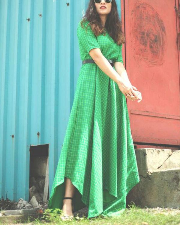 Green checkered dress 2