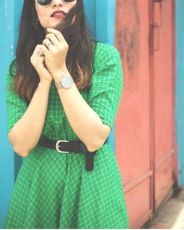 Green checkered dress 3