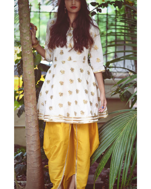 White and Yellow Dhoti Set 3