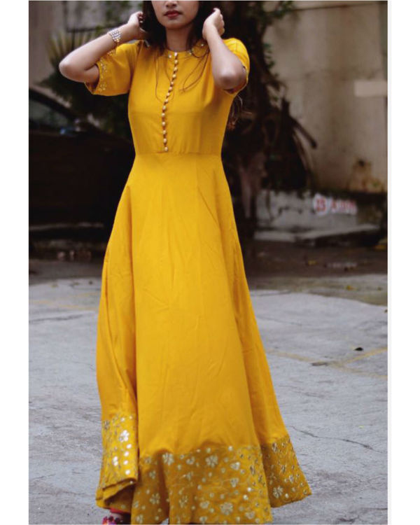 Golden yellow embroidered dress 2