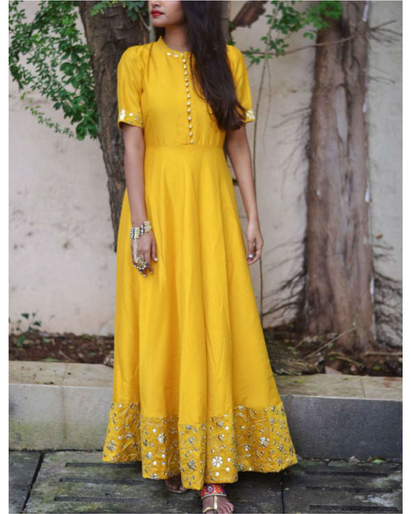 Golden yellow embroidered dress 1