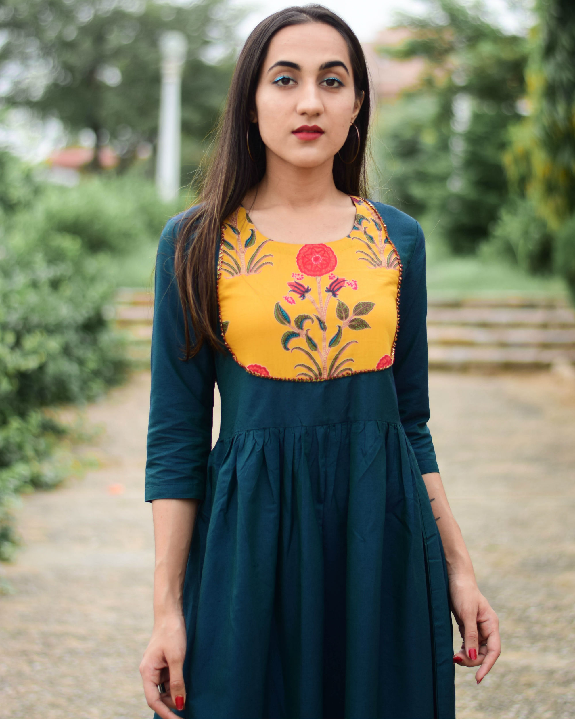 70c2b599a46 Noor green patch dress by Kaaj