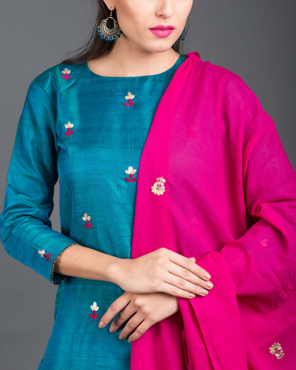 Turquoise pink embroidered set 3