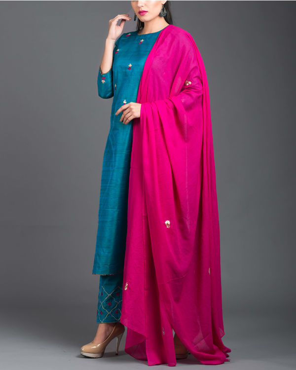 Turquoise pink embroidered set 4