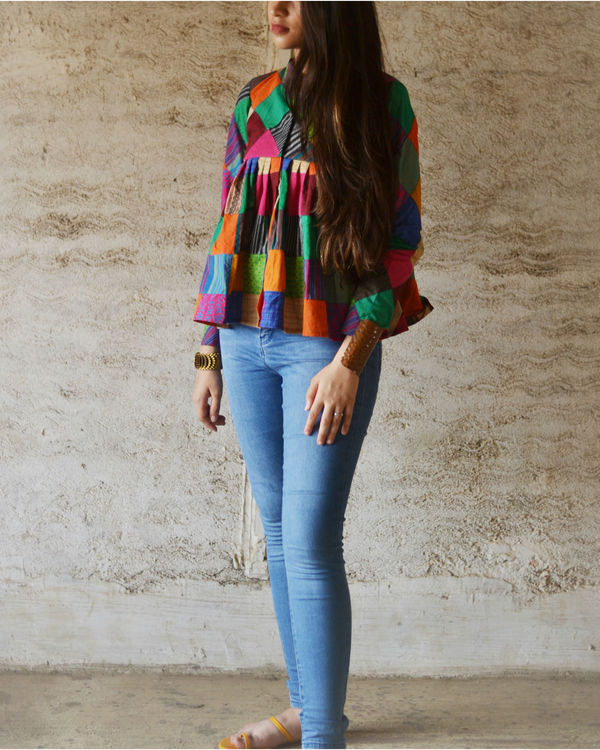 Multi color peplum top 2