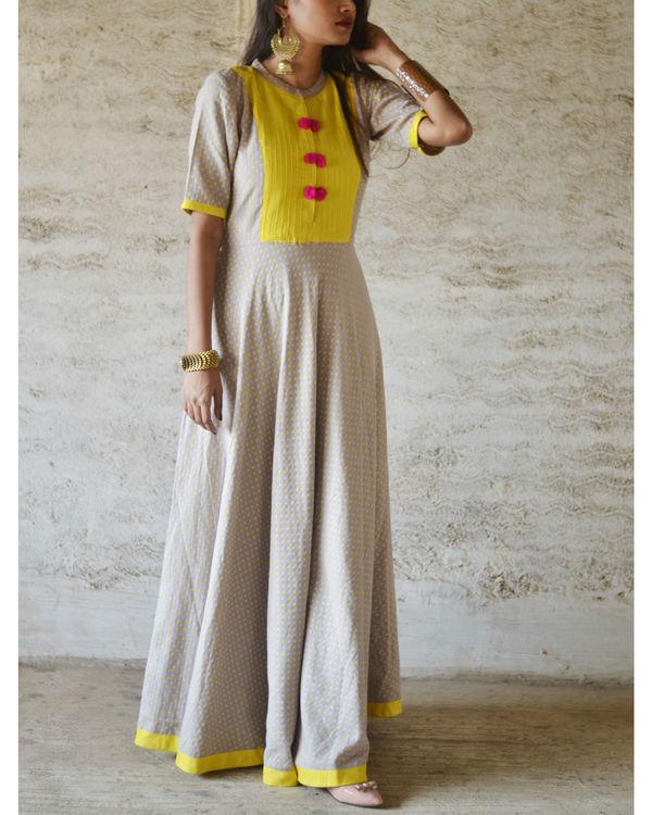 Yellow yoke pompom dress 1