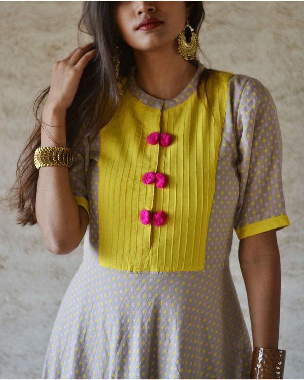 Yellow yoke pompom dress 2