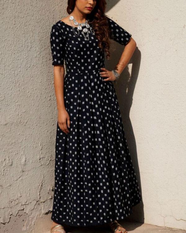 Black ikat flared dress 1