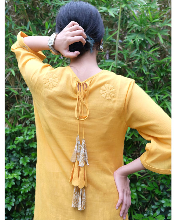 Yellow applique frill tunic 1