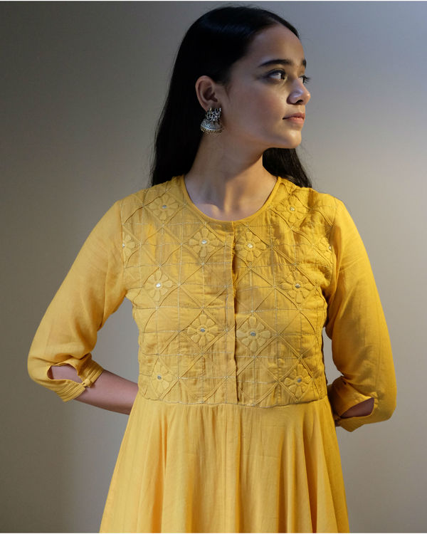 Yellow applique embroidery dress 1