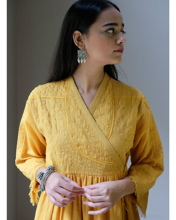 Yellow zari angrakha dress 1