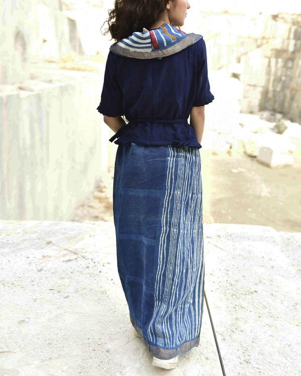 Indigo stripes dabu print sari 2