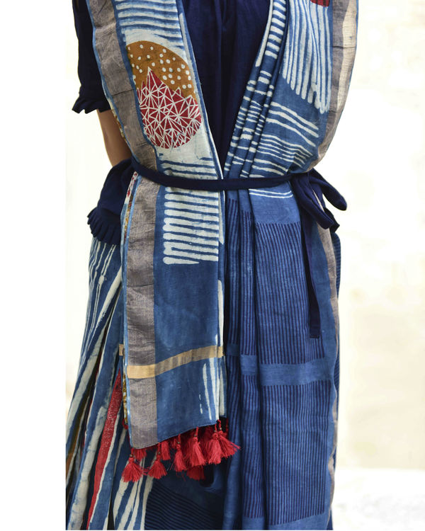 Indigo stripes dabu print sari 3