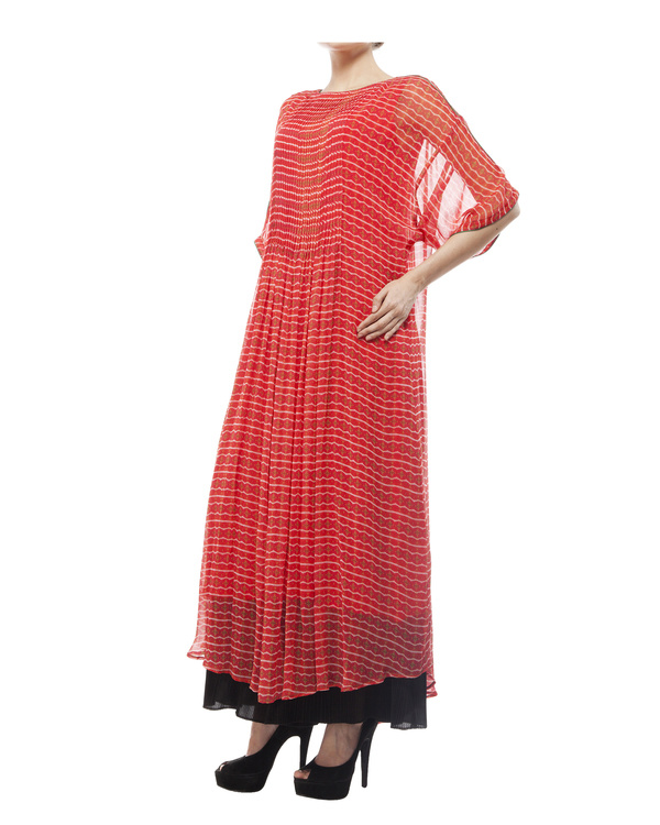 Printed long tunic with pintuks 1