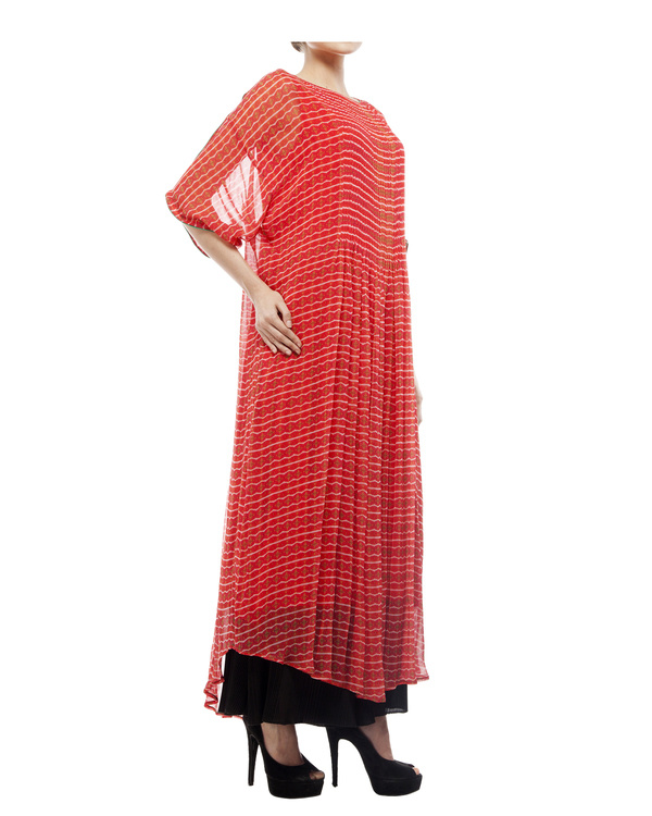 Printed long tunic with pintuks 2