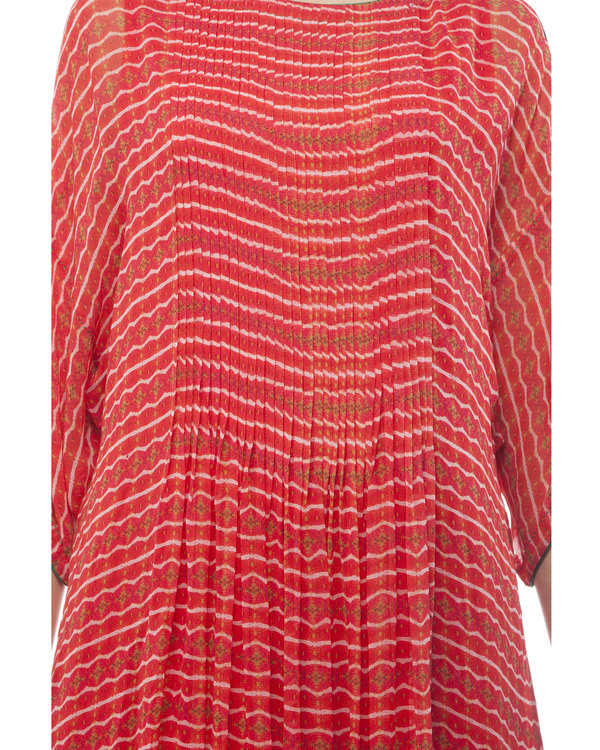 Printed long tunic with pintuks 4