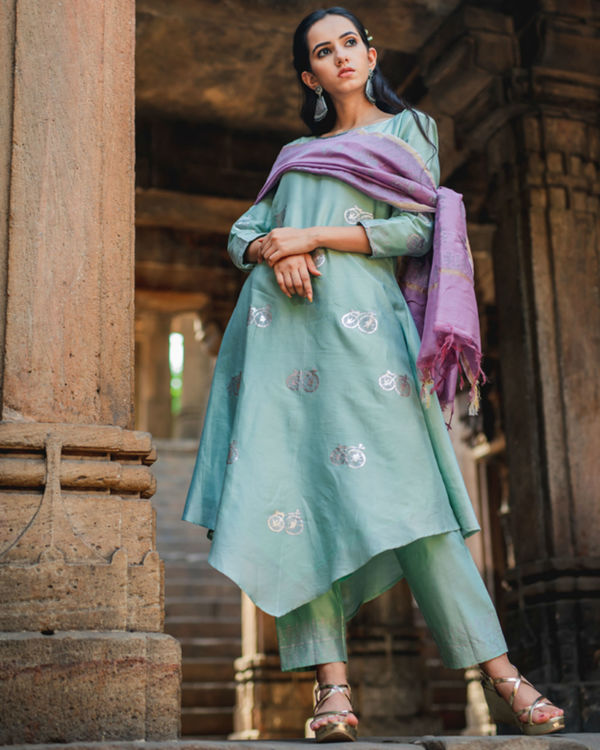 Mint green printed set with dupatta 2