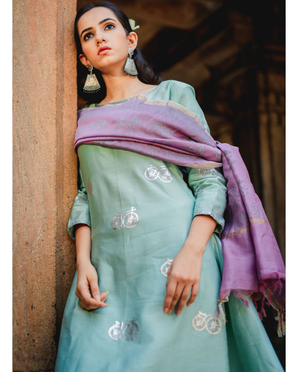Mint green printed set with dupatta 1