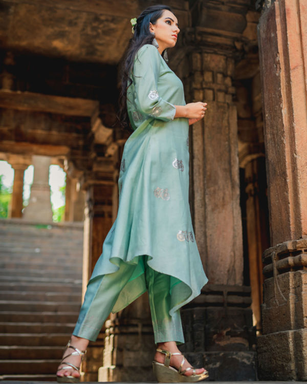 Mint green printed kurta pant set 1