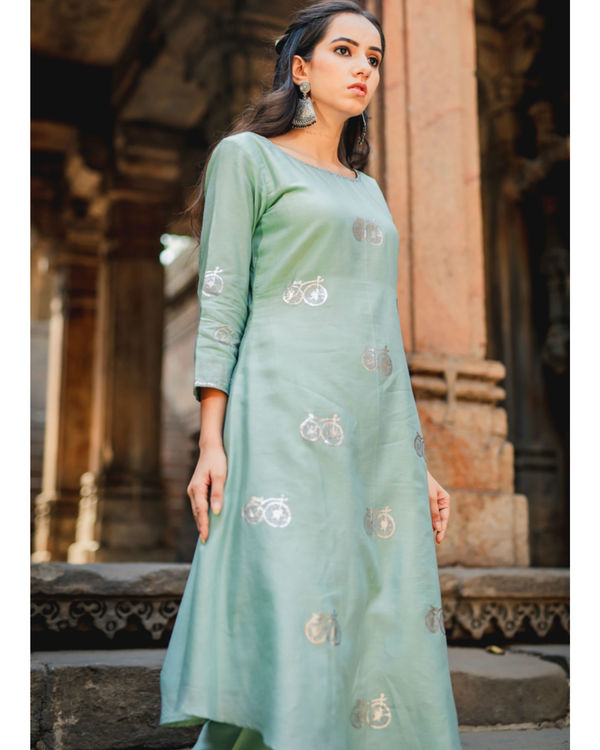 Mint green printed kurta pant set 2