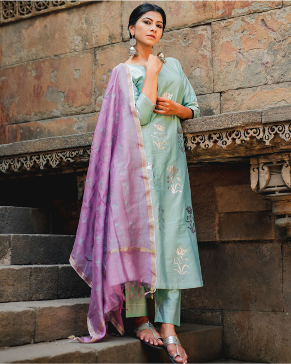 Mint green floral printed set with dupatta 1
