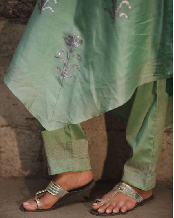 Mint green floral kurta pant set 2