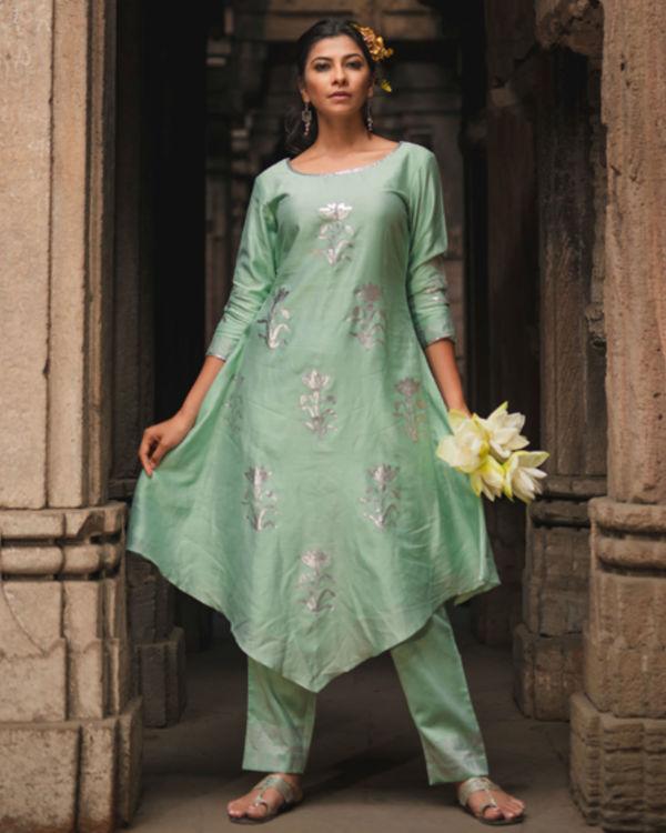 Mint green floral kurta pant set 1