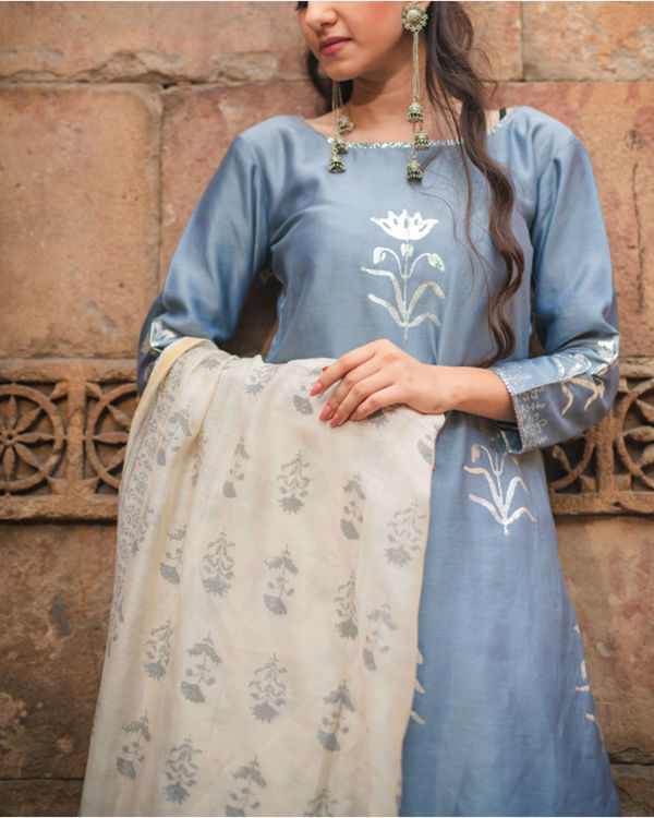 Cobalt blue printed kurta set with dupatta 2