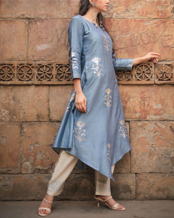 Cobalt blue printed kurta pant set 3