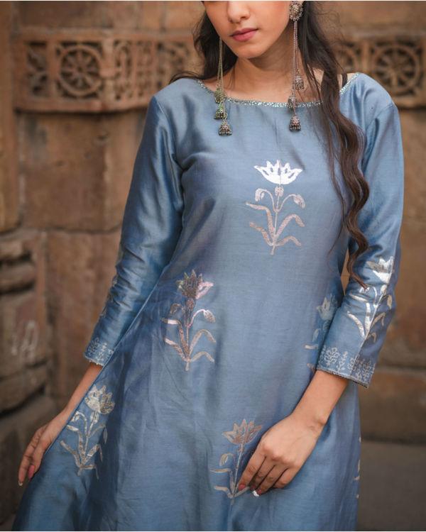 Cobalt blue printed kurta pant set 2