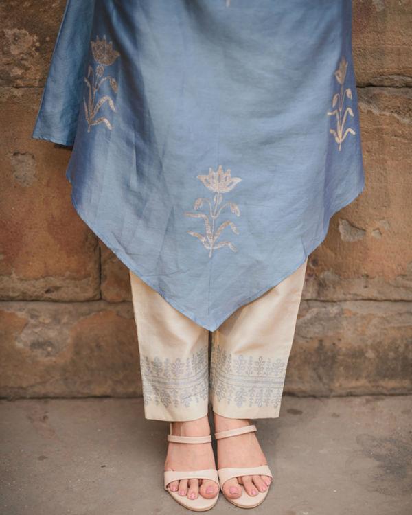 Cobalt blue printed kurta pant set 1