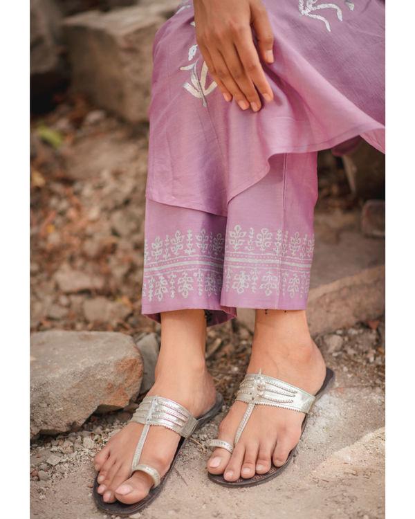Lavender floral printed kurta pant set 2