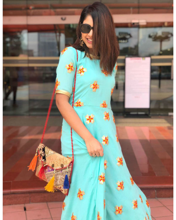 Blue Star Embroidery Dress 1