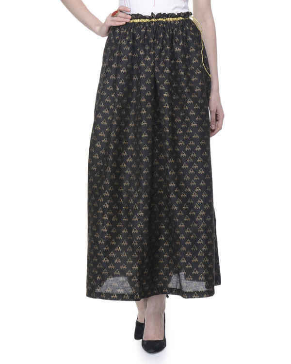 Black gathered block printed skirt 1