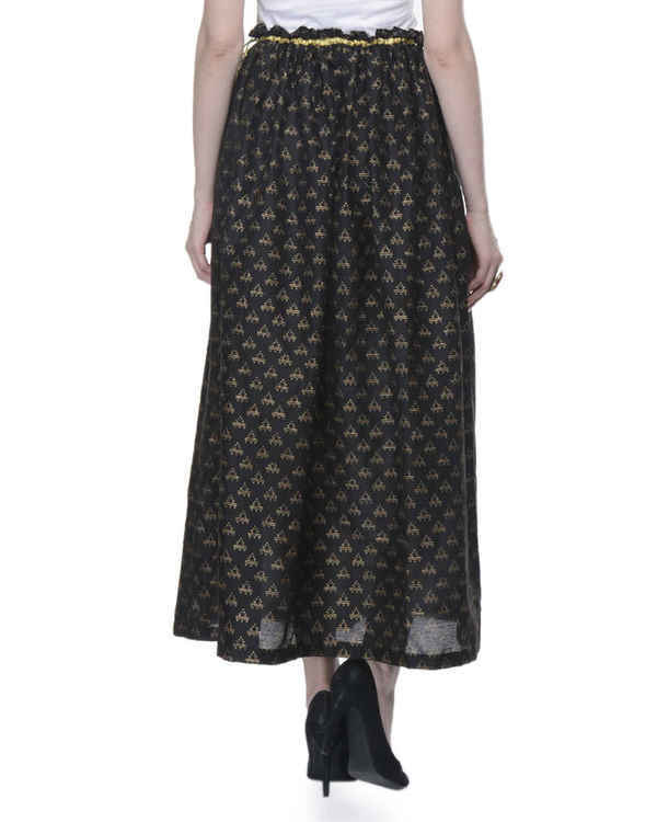 Black gathered block printed skirt 2