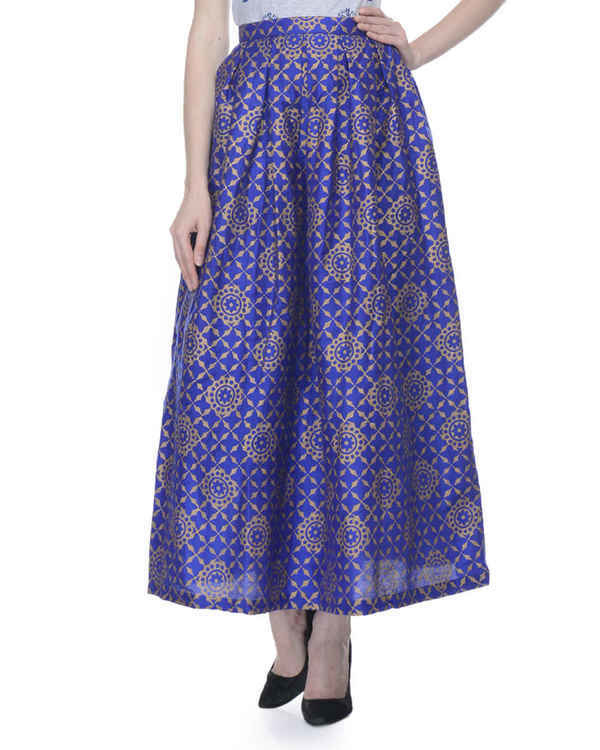 Blue pleated skirt with block printing 1