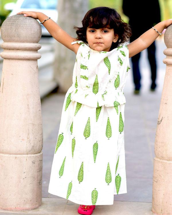 Green leaf print dress 2