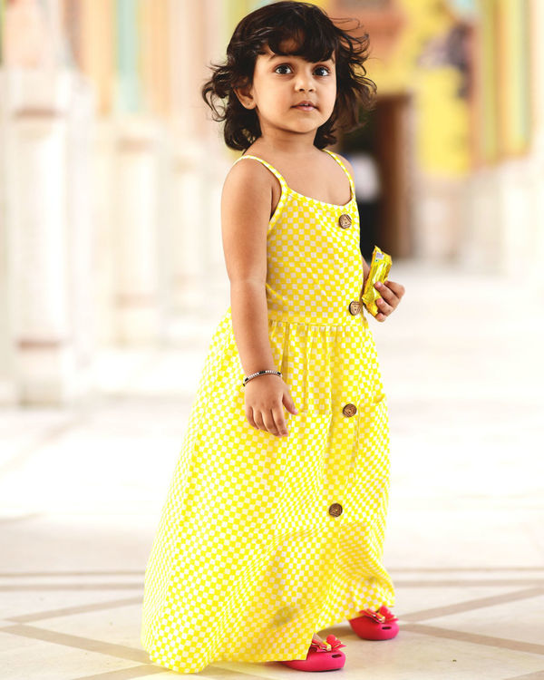 Yellow check dress 1