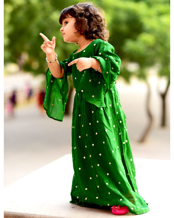 Green polka dress with bell sleeves 1