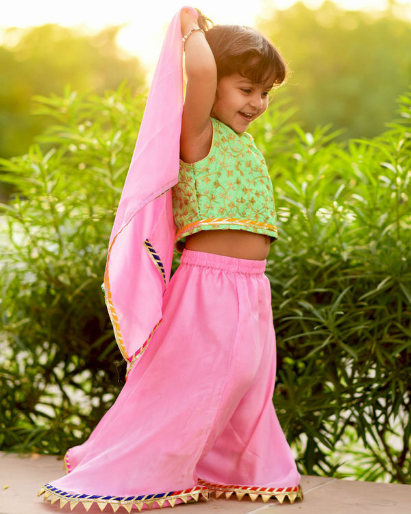 Green and pink lehanga set 3