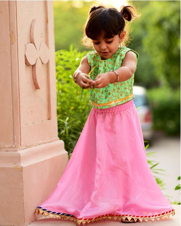 Green and pink lehanga set 2