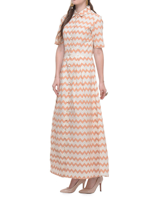 Cotton dress with beige zig zag hand block print 1