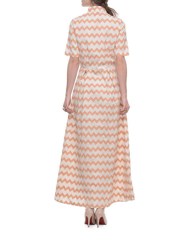 Cotton dress with beige zig zag hand block print 2