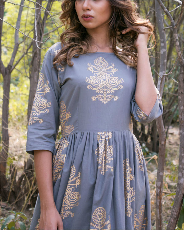 Grey gold gathered dress 1