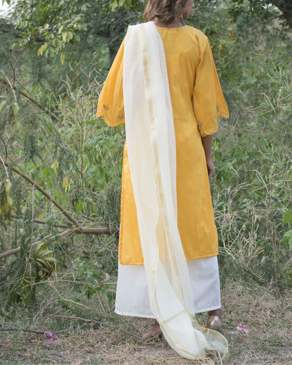 Yellow and off white cut work set with dupatta 1