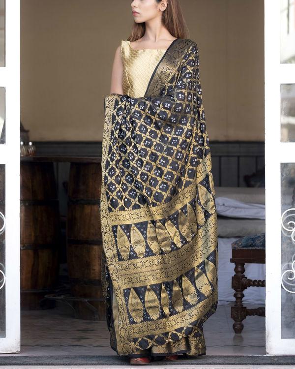 Black art silk sari with blouse 1