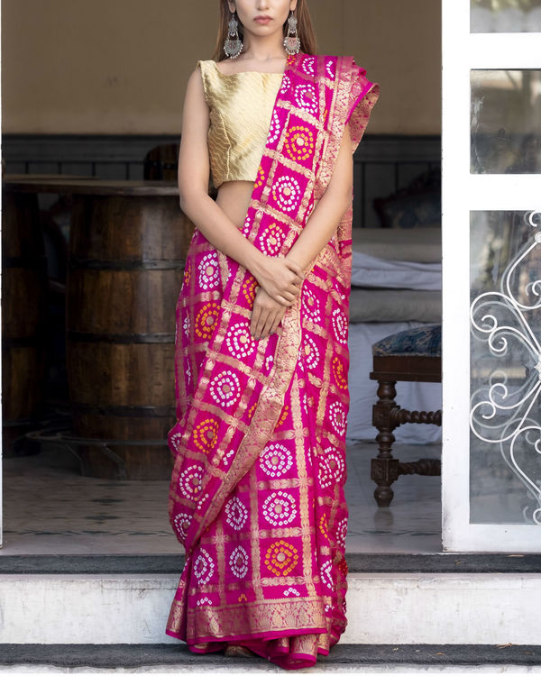 Magenta silk checked printed sari with blouse 1