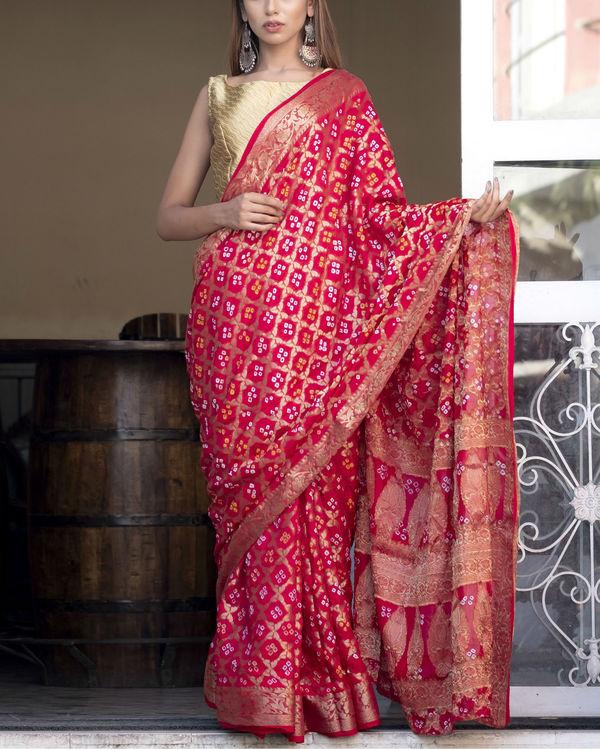 Red art silk sari with blouse 1