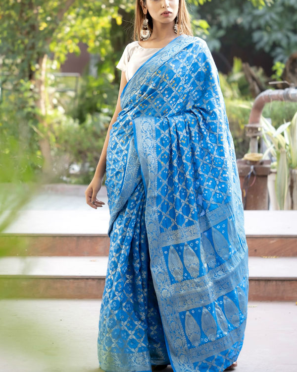 Blue art silk sari with blouse 1